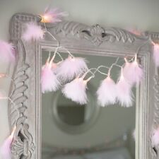 Pink Fluffy Feather 20LED Fairy String Lights Battery Operated Bedroom Decor