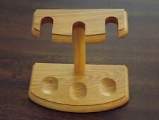 Natural Wood Finish 3 Pipe Tobacco Pipe Stand Holder Rack