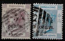 Hong Kong stamps 1880 SG 24+25  CANC  VF
