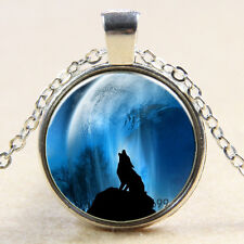 Vintage wolf Cabochon Silver plated Glass Chain photo Pendant Necklace/new