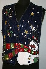 Womens Quacker Factory Sz S Heavily Sequined Vest Snowman Holiday Christmas