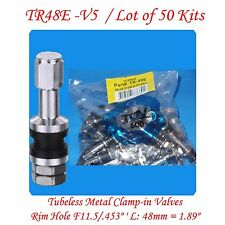 50 Kits TR48E Flash Mount High Pressure Tubeless Metal / Chrome Clamp-in Valve