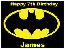 "Batman Logo Personalised Cake Topper Edible Wafer Paper 7.5"" By 10"" A4"