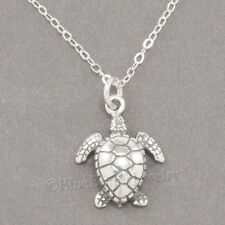 "3D SEA TURTLE ocean life animal Charm Pendant 925 STERLING SILVER 18"" Necklace"