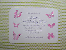 Luxury Personalised Childrens Birthday Party Invitations Thank You Butterfly Gem