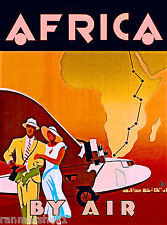 Africa by Air Airplane Clipper Vintage African Travel Advertisement Art Poster