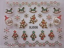 Christmas Nail Art Stickers Decals Gold Snowflakes Lace Santa Gel Polish xj6G