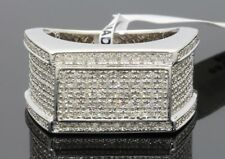 .84 CARAT MENS WHITE GOLD FINISH GENUINE DIAMOND ENGAGEMENT WEDDING PINKY RING