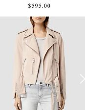 Bnwt Allsaints Plait Balfern leather biker jacket..uk4 Nude pink  RARE