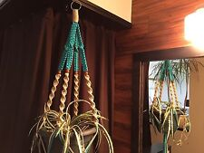 Macrame Plant Hanger Sand and Turquoise 4 Walnut Beads Made In USA