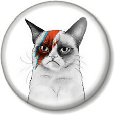 "Grumpy Cat Ziggy Stardust 25mm 1"" Pin Button Badge David Bowie Insane Meme Funny"