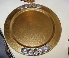 Piatto centrotavola in vetro e decorazioni in argento