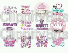 "50 x 1"" Inch Pre Cut Bottle Cap Images Daddy's Mummy's Princess Sister bows Mix"