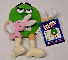 "Nanco 2001 Mars M&M's Green 6.5"" Small Stuffed Beanbag Plush w/Easter Bunny"