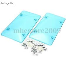 2 Psc Clear Flat Car License Plate Frame Cover Sheild Protector + Screws Blue