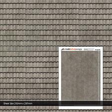 2 x SHEETS MARLEY CONCRETE ROOF TILES OO GAUGE MODEL RAILWAY BUILDINGS TX162-OO