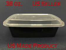 150 Sets Deli Food Rectangular Containers Plastic 38 oz. (with Lids)