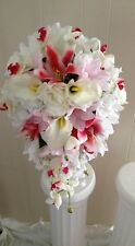 Silk Brides Tropical Bouquet - 21 Pcs. -Orchids, Star Lilies, Roses, Baby Breath
