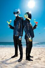 A1 DAFT PUNK WITH COCKTAILS ON BEACH ART PRINT POSTER