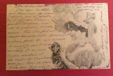 CPA. Illustrateur W. BRAUN. Jeune Fille au Chaton. 1903. A.S.W. Mon Bijou.