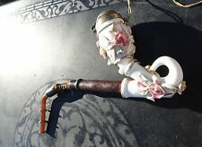 Antique Porcelain Germany Full Curve Pipe Roses Calabash  Style Oompaul