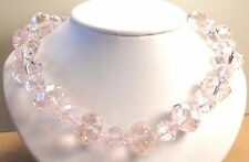 Vintage 70's Chunky Pink Glass Crystal Bead Necklace