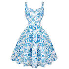 Womens Blue and White Dreamy Vintage Retro 1950s Floral Floaty Summer Sun Dress