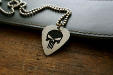 Hand Made Etched Guitar Pick Necklace Punisher Skull