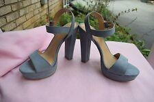 NEW Women Size Lauren Conrad Bow Blue 9 High Heel Platform Wedge Sandal Shoe