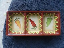 The Main Ingredients Red Green Yellow Peppers Terracotta 3 Sectioned Dip Tray