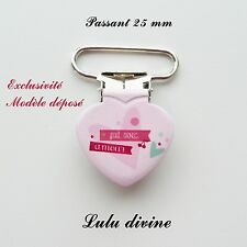 1 Pince Coeur, Attache tétine rose Coeur Fait avec amour passant de 25 mm