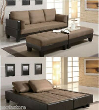 Two Tone Futon Contemporary Sofa Bed Group with 2 Ottomans Living Room Furniture