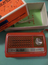 EXCALIBUR Solid State AM Pocket Red Plastic #1001 Transistor RADIO with Box