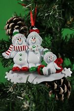PERSONALISED CHRISTMAS TREE DECORATION ORNAMENT SNOW SLED FAMILY OF  3