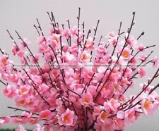 10X Pink Artificial Spring Peach Blossom Cherry Plum Branch Flower Home Decor S5