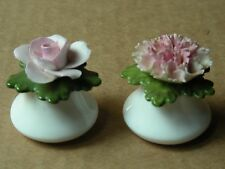 (SET OF 2) DENTON CHINA FLOWERS SALT & PEPPER SHAKERS, MADE IN ENGLAND