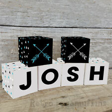 Personalised Wooden Name Blocks PRICE PER BLOCK/LETTER Custom Made Arrow