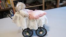 "Debi Ortega Artist Mini Mohair 5"" Bear with Baby Carriage & Pillow Artist Signed"