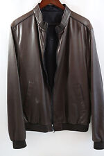 Salvatore Ferragamo Brown Reversible Nappa Leather Jacket Size 54 retail $3270