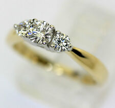 Diamond engagement ring platinum 14K yellow gold 3 stone round brilliant .50CT!!