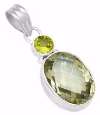 Natural Green Amethyst Pendant with Chain Solid 925 Silver Jewelry IP30152