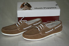 NEW HUSH PUPPIES ME'NS NATURAL BROWN BOAT THREE EYES LEATHER SHOES  US 13 EUR 46