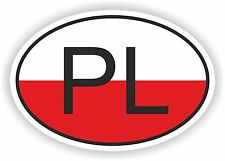 OVAL FLAG WITH PL POLAND COUNTRY CODE STICKER CAR MOTOCYCLE AUTO TRUCK LAPTOP