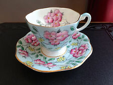 Vintage Beautiful Foley Bone China Footed Tea Cup & Saucer Blue Springdale