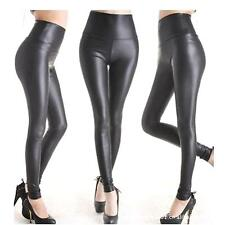 Fashion Sexy Women High Waist Black Stretchy Faux Leather Pants Leggings