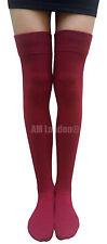 AM Landen®BURGUNDY Cotton Thigh-High Socks Sexy & Warm US Size 6-8