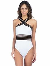 New Kenneth Cole New York Swimsuit Bikini 1 One piece Size M Illusion-Striped