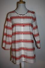 TOMMY HILFIGER Orange Striped Indian Beaded Neckline Tunic Blouse Top LG