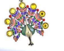 Stunning large and colourful bronze peacock necklace, red and yellow crystals