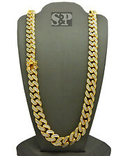 "Hip Hop Rapper Premium Iced Out 30"" Brass Gold Plated Miami Cuban Chain Necklace"
